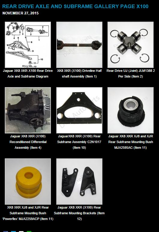 Jaguar XK8 XKR Rear Drive and Axle Parts Listing Now Online